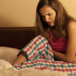 Woman having menstruation